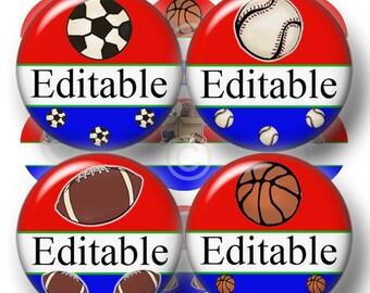 Sports Teams, Editable I inch Circles, Bottle Cap Images, Digital Collage Sheet, Football, Basketball, Baseball, Soccer, Digital Download