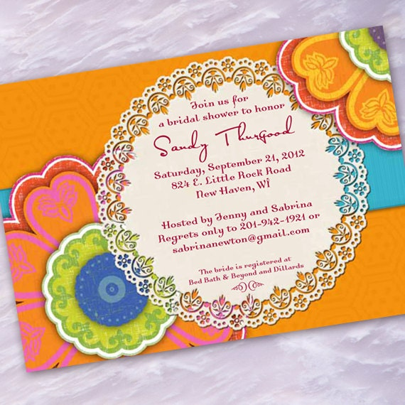 bridal shower invitations, tangerine and turquoise bridal shower invitations, hot pink and orange baby shower invitations, IN181