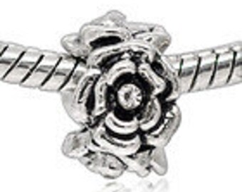 ROSE FLOWER Antiqued  Silver Plated Rose with Rhinestone CenterSpacer Beads Fit  European Charm Bracelet