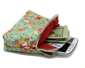Wallet - Double Coin Purse with cards slot - Clutch Purse - Mint Green with Red - Double Pockets - Silver Frame