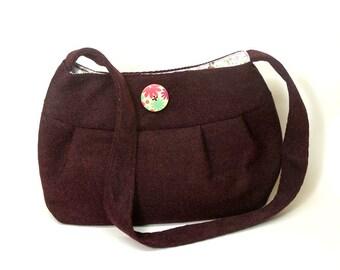 Handbag - Shoulder Bag - Fabric Purse - Bordeaux Woven Fabric
