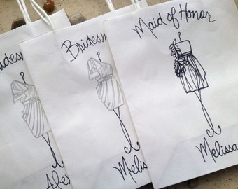 Personalized Shopping Bags for your Bridesmaids with YOUR Dress SET of 6 Personalized Wedding Shopping Bags with Handles