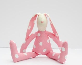 Stuffed rabbit toy bunny pink white polka dots hare plush bunny doll softie stuffed toy baby shower Easter and birthday gift