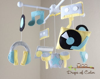 """Baby Crib Mobile - Baby Mobile - Music Band Mobile - """"Rock Star Mobile"""" Instruments, Cassette, Music Notes (You can pick your colors)"""