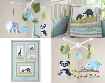Baby Mobile - Baby Crib Mobile - Nursery Elephant, Giraffe, Panda and Rhino Mobile - Safari Mobile - Made 2 Match Brooks Bedding