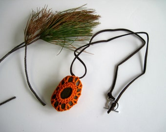 Crochet Lace Covered Stone Pendant Necklace - In Orange - Design 2