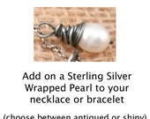 Add on sterling silver wrapped pearl