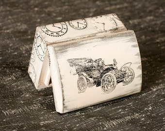 Wooden Treasury Box, Vintage box,  Jewelry box, Distressed box , Retro car, Gifts for him, for dad, ohtteam