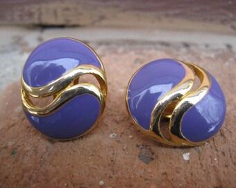 Vintage Purple & Gold Clip-On Earrings.  Wedding, Women's Gift, Anniversary.