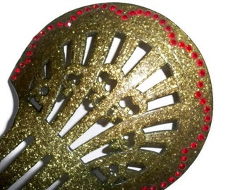 RARE Vintage Art Deco Hair Comb - Sparkly Green Celluloid and RED Rhinestones - Great Gatsby, Jazz, & Flapper Girl Era