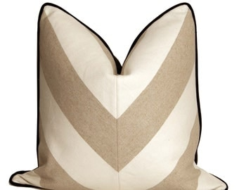 Wheat and White Linen Chevron
