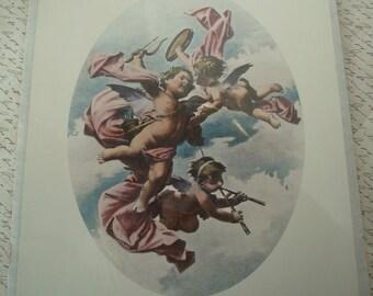 Cherubs in Flight print-cherub picture-cherubs-heavenly-oval picture-shabby chic-French-Victorian picture.