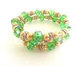 BIG SALE Green Crystal and Champagne Pearl Beaded Memory Wire Wrap Bracelet