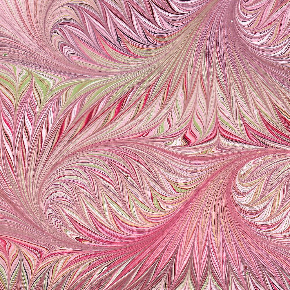 marbled paper handmade pink bird wing pattern 9x12in by