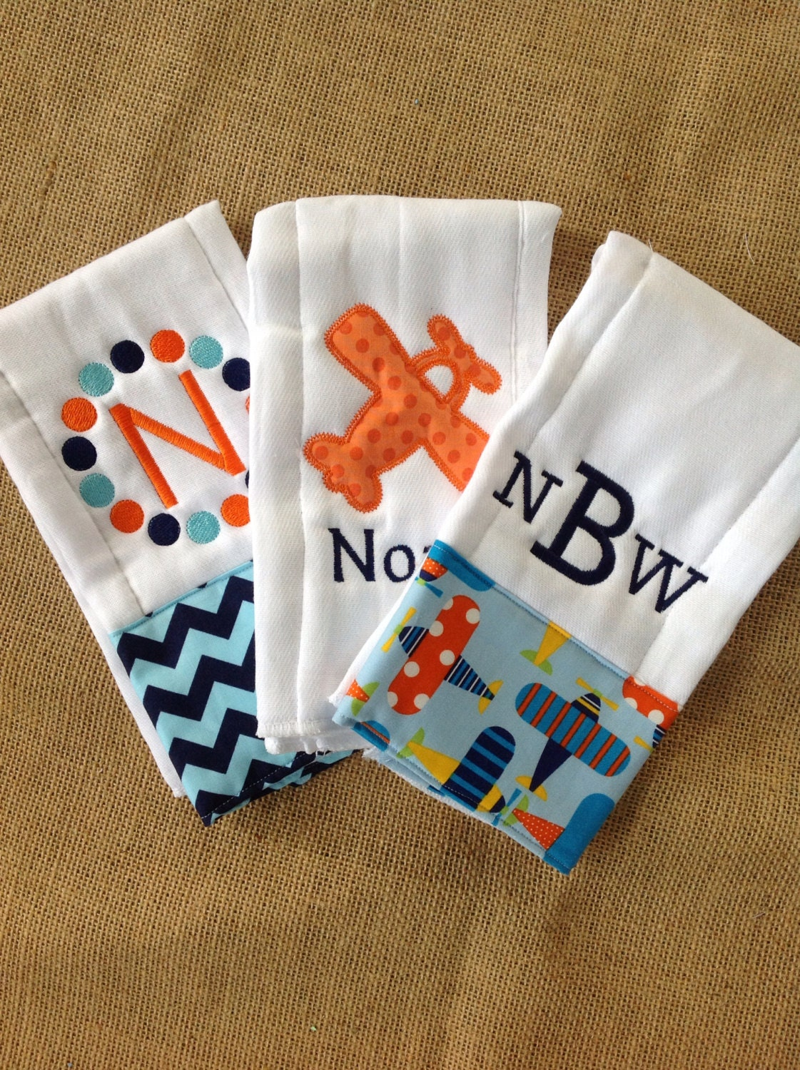 Set of 3 Personalized Burp Cloths Diaper Cloths by