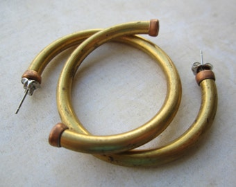 Vintage Brass Hoop Earrings 2Prs. Surgical Stainless Steel Posts And Clutches
