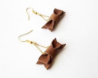 Small bow earrings, Cute bow earrings, Leather bow earrings, Dangle  earrings bows, Girls bow earrings, Women bow earring, Brown bow earring