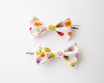Baby hair bow set, Cute fabric hairbows, Colorful bow bobby pins, Girl hair bows, Girl hair bow pin, Hairbow clip, Small bow hair clip set