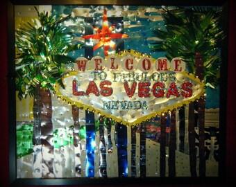 Las Vegas Art, Welcome to Las Vegas Aluminum Can Mosaic, Soda Pop Can Art, Recycled Art