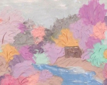 "ATC ""Pastel river""  polymer clay painting"