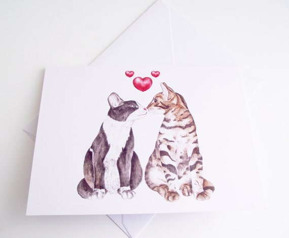 Two Cats Kissing illustration greeting card