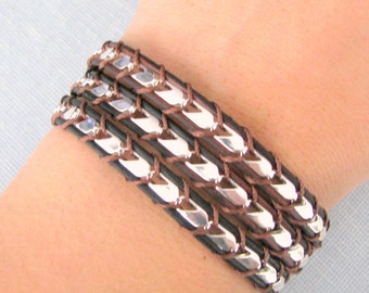 Silver Chain Wrap Bracelet on Sable Leather with a Button Clasp