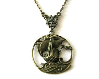 Sailboat necklace, nautical jewelry, antique brass bronze boat necklace, ship pendant necklace victorian vintage style
