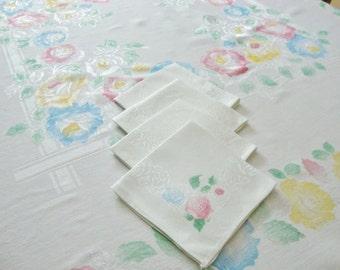 Damask Tablecloth and Napkins Set Painted Floral Design Vintage Pastel Flowers