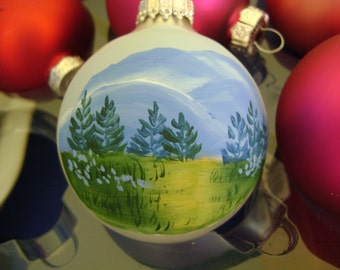 Smoky Mountains Christmas Ornament with trees and moountains and path