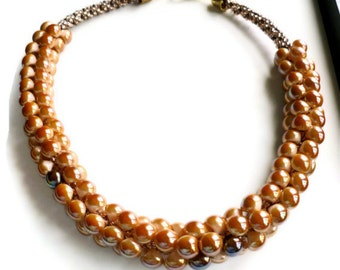 Tan and brown beaded necklace, beaded Kumihimo chunky necklace