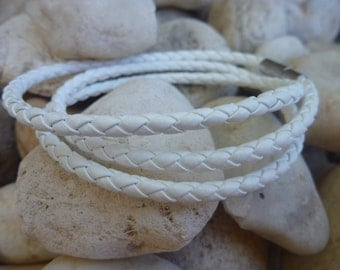 Leather Bracelet.White Wrap Leather Bracelet/Necklace.Stainless Steel.Unisex.