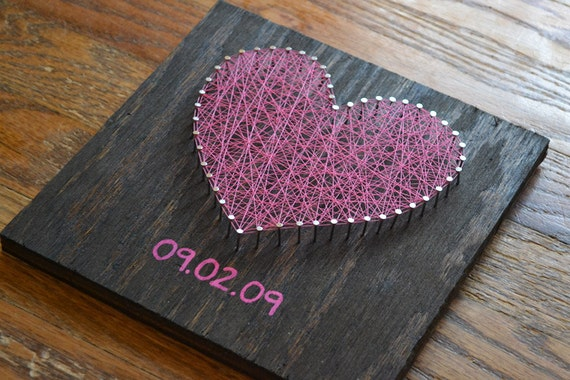 Valentine's Day Heart String Art - Choose the Date - Anniversary Nail Art