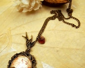 Gothic, steampunk, art cameo pendant, mucha
