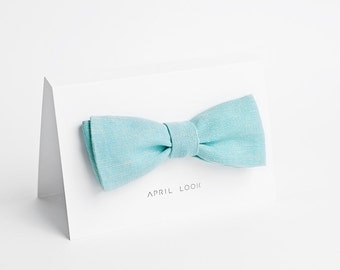 Mint blue bow tie for men - double sided