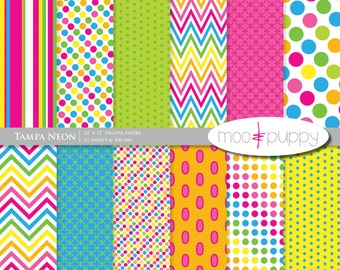 Digital Scrapbook Paper Pack  --  Tampa Neon -- INSTANT DOWNLOAD