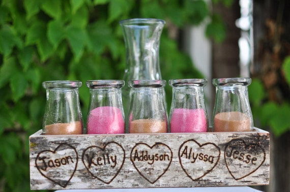 Birch Bark Sand Ceremony Set for 4 Children or Family Crate Personalized Centerpiece