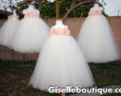 Flower girl dress. Ivory with Light Pink Peonies .rose flower girl dress.baby tutu dress, toddler tutu dress, wedding, birthday,clothing.