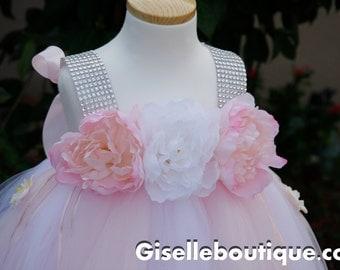 Light Pink with White Flower Girl TuTu Dress. Flower girl tutu. wedding.Light pink wedding dress. Girls wedding tutu dress. Baby tutu dress.