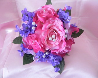 Wedding Bridal Bouquet Package Pink Open Roses Lilacs Orchids  Pearls Boutonniere  BB#125