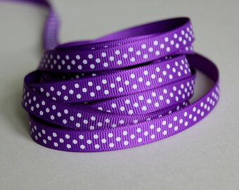 "3/8"" Grosgrain Ribbon Swiss Dots - Purple - 25 yard Spool"
