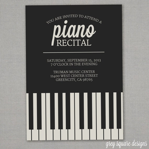 piano recital invitation. Black Bedroom Furniture Sets. Home Design Ideas