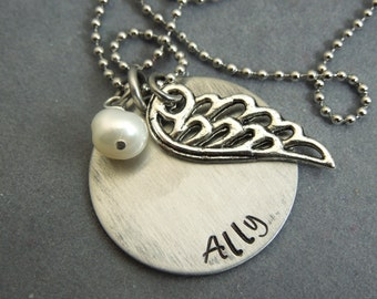 Personalized wing necklace , hand stamped stainless steel
