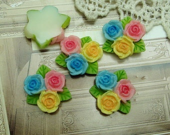 6 Pcs Beautiful Rose Cabochon Colourful,-Hand Painted Star Flower (R1602)