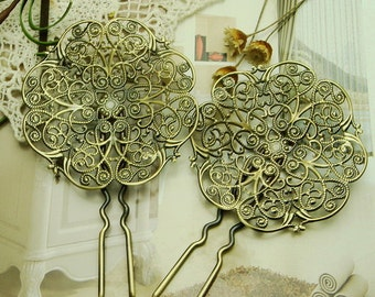 2Pcs Big   Antique Bronze  Hair Fork,99mm