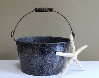 Vintage Metal Blue Speckled Pan