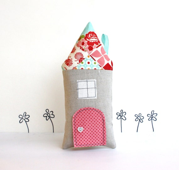 Tooth Fairy Pillow, Cottage, Children, Toy, Open The Door, Stuffed Toy, Keepsake, Red, Turquoise, Quilted