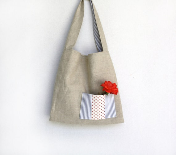 Linen Tote Bag/ Purse  Knotted Strap/ Red /White /Blue/ Beige/Women's Purse/Market Toe/ shopping Bag