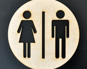 Restroom Sign - Mens Womens Unisex - Silhouette