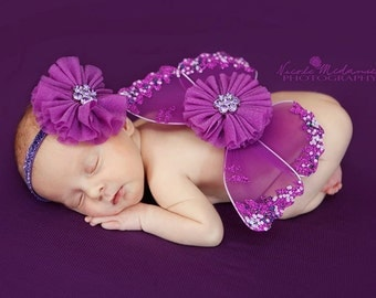 Newborn baby girls butterfly wings and headband set violet purple photo prop
