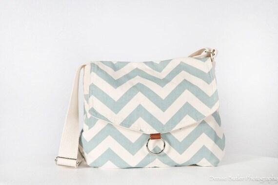 Easter Robin Egg Blue/natural/ Chevron messenger bag/ipad messenger bag/shoulder bag/graduation gift/Mother's gift